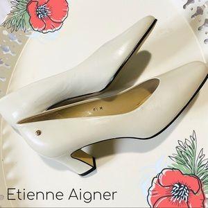 Etienne Aigner cream leather pumps nwot 6.5